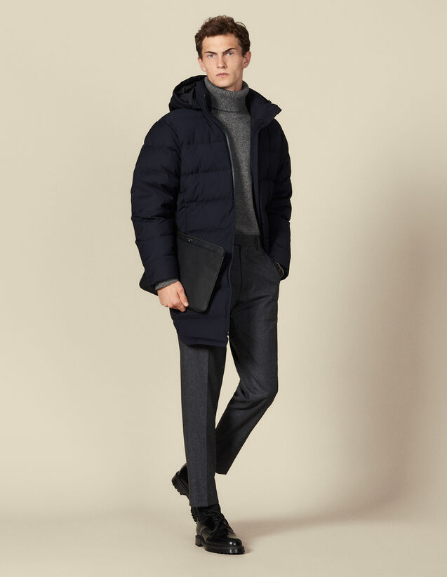 Doudoune longue à capuche : Trenchs & Manteaux couleur Marine