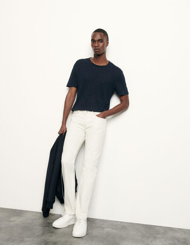 Jean slim en coton : Collection Hiver couleur blanc