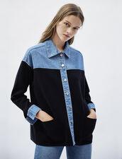 Cardi-coat bi matière esprit veste : Pulls & Cardigans couleur Deep Navy