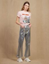 Jean Évasé Taille Haute Enduit : LastChance-CH-FSelection-Pap&Access couleur Argent