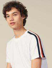 T-Shirt À Rayures Aux Manches : Nouvelle Collection couleur Blanc