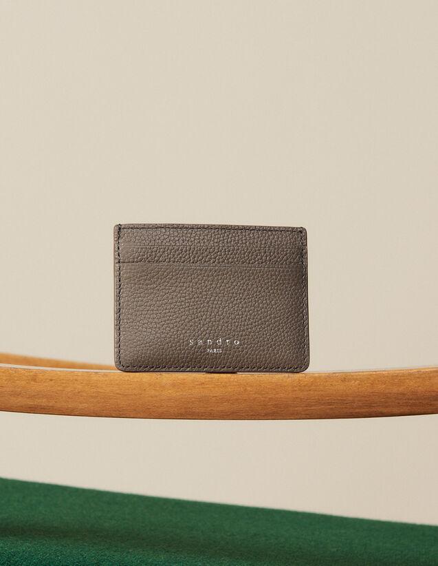 Porte-cartes en cuir grainé : Collection Hiver couleur Taupe