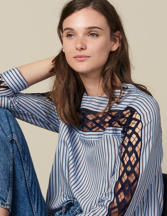 Top En Popeline Et Guipure : Tops & Chemises couleur Ciel