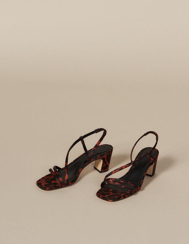Sandales en tissu imprimé léopard : Chaussures couleur Leopard orange