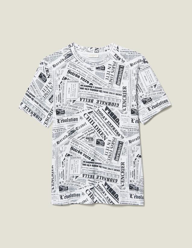 T-Shirt Printé Papier Journal : T-shirts & Polos couleur BLANC/NOIR