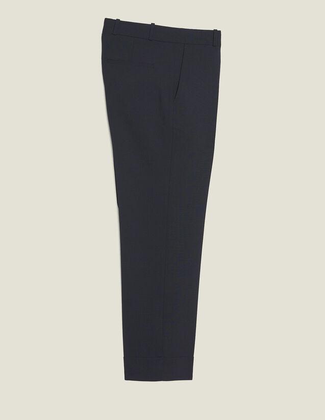 Pantalon Coupe Carotte À Revers : Pantalons & Shorts couleur Marine