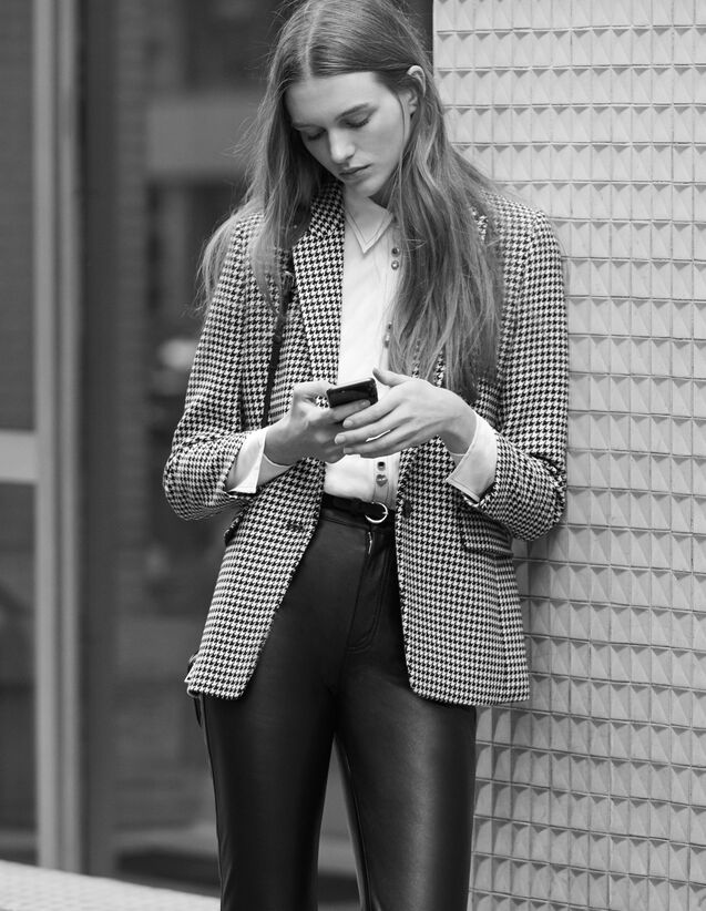 Veste de tailleur en pied de coq : Blousons & Vestes couleur Noir