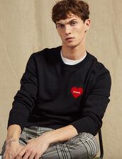 Sweat Shirt En Coton Avec Cœur Floqué : Sweats couleur Marine