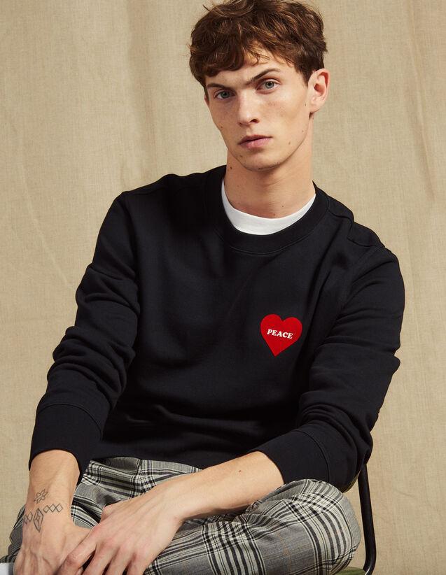Sweat Shirt En Coton Avec Cœur Floqué : JP-UK-HSelectionPAP couleur Marine