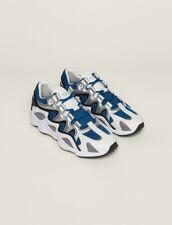 Baskets Mix Matières : Chaussures couleur Bleu