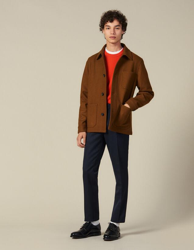 Veste en drap de laine : Blousons & Vestes couleur Camel