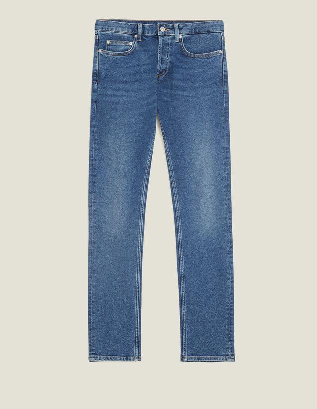 Jean Délavé - Coupe Étroite : Jeans couleur Blue Vintage - Denim