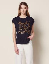 T-Shirt En Coton Avec Inscriptions : T-shirts couleur Marine