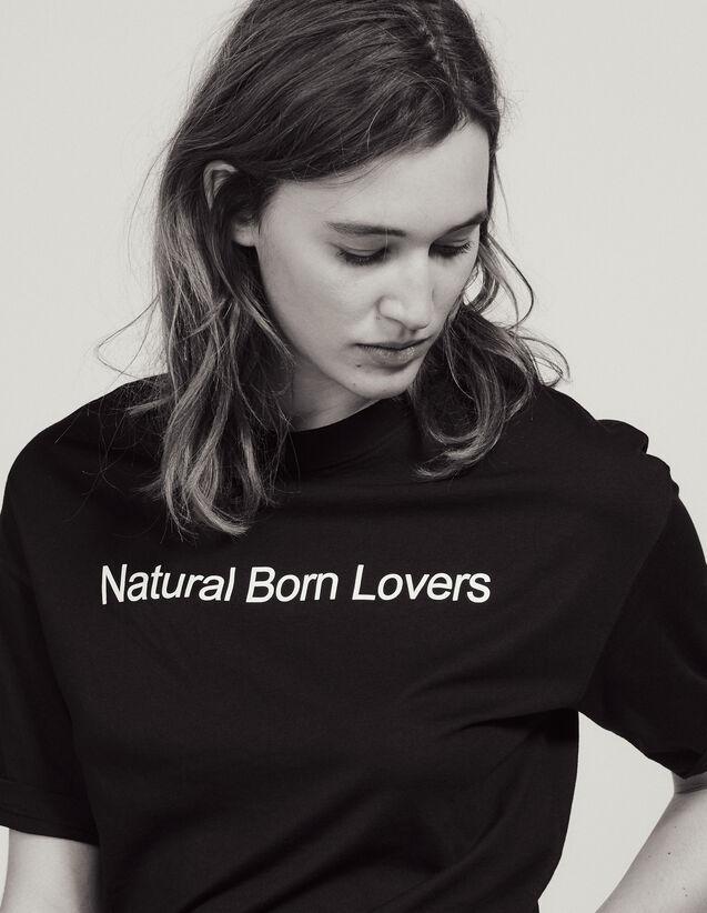 T-Shirt Over Size À Message Contrastant : Sélection Last Chance couleur Noir