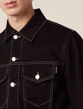Veste En Toile Denim : Blousons & Vestes couleur Noir