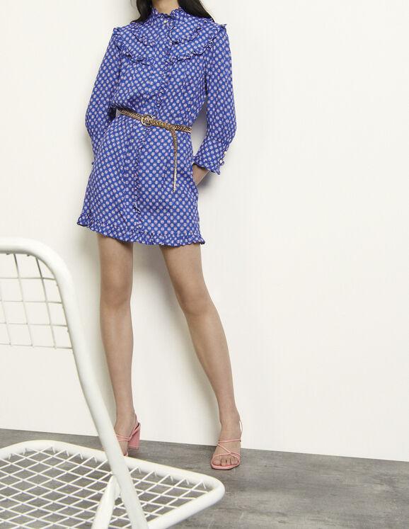 Robe courte imprimée à manches longues : Robes couleur Bleu