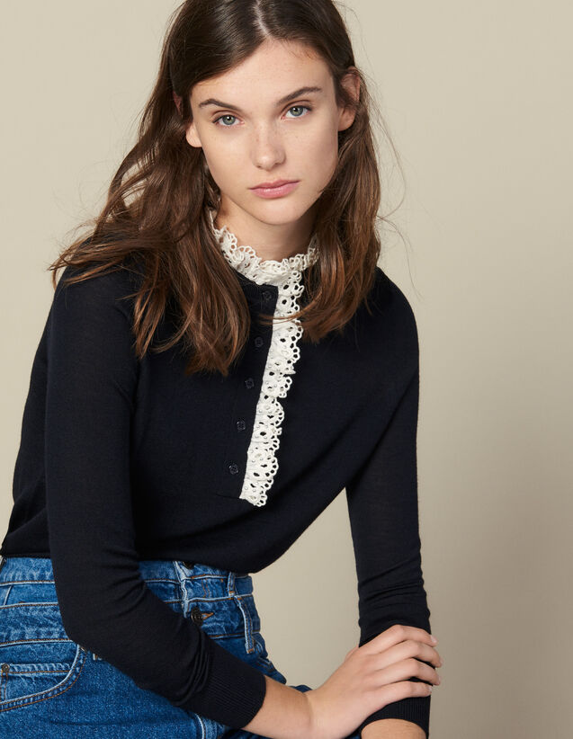 Pull Avec Broderie Anglaise Au Col : Pulls & Cardigans couleur Marine