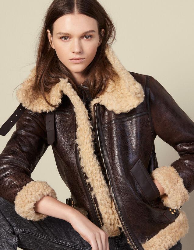 Bombardier en peau lainée : Manteaux couleur Marron Foncé
