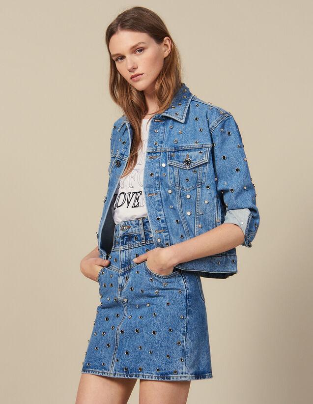 Jupe Courte En Jean Ornée De Studs : New in couleur Bleu jean