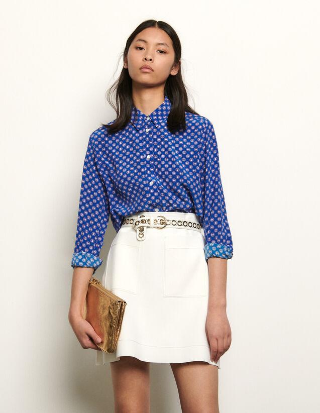 Chemise en soie imprimée : Tops & Chemises couleur Bleu