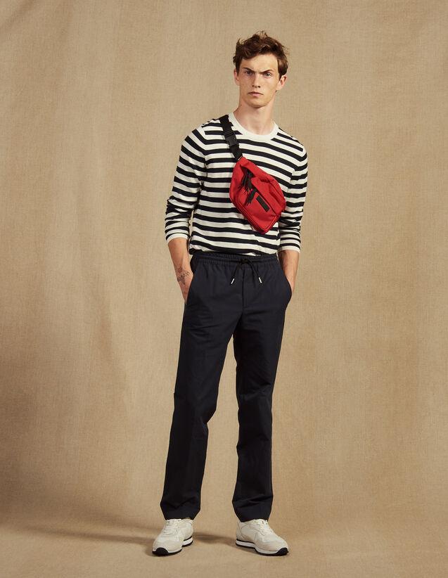Pantalon De Ville En Coton Lin : Pantalons & Shorts couleur Marine