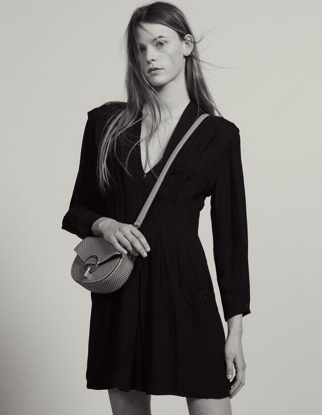 Robe Courte Fluide Ornée De Plis : Robes couleur Noir