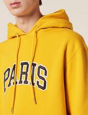 Hoodie Avec Patch À Message : Sweats couleur Jaune