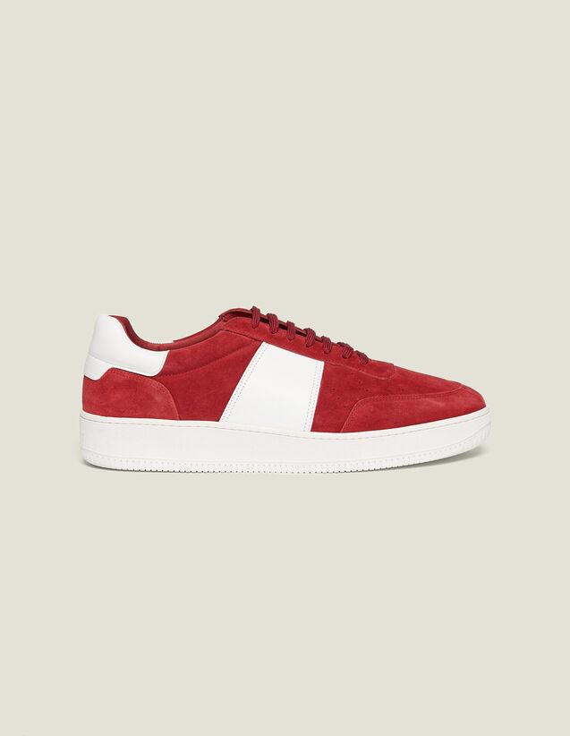 Baskets En Cuir : Chaussures couleur Rouge