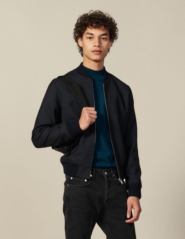 Blouson zippé esprit bombers : Blousons & Vestes couleur Marine