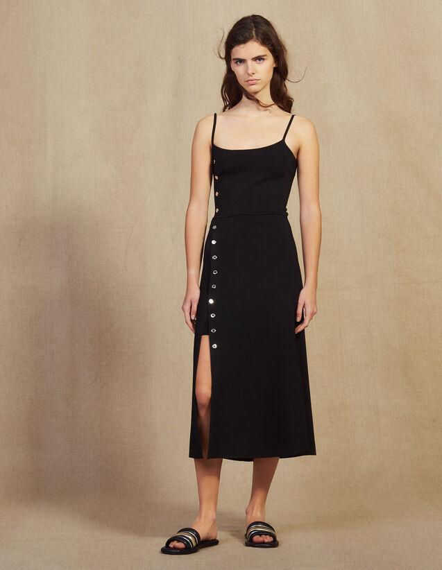 Robe Midi En Maille À Fines Bretelles : Robes couleur Noir