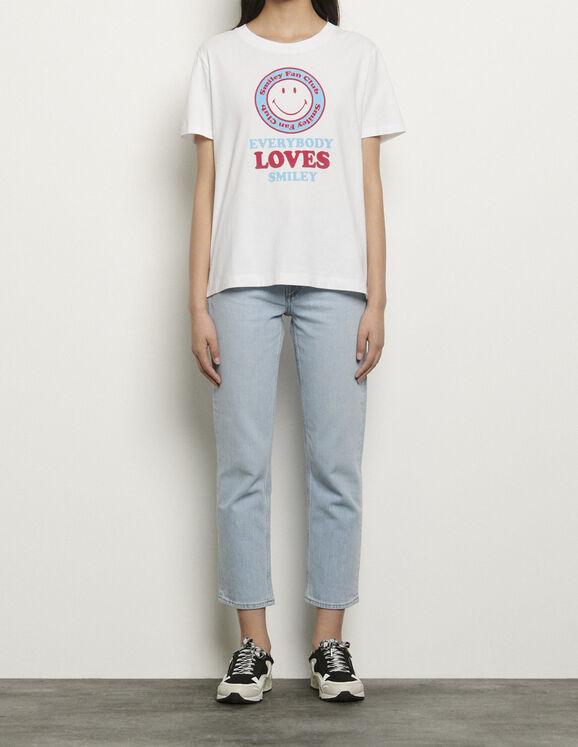 T-shirt en coton organique à motifs : T-shirts couleur BLANC/BLEU
