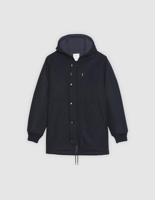 Manteau à capuche en drap de laine   Trenchs   Manteaux couleur Marine 52422d552813