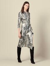 Robe longue drapée en jacquard lurex : Robes couleur Multicolore