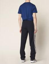 Jogging En Jersey Avec Galon Rayé : Pantalons & Shorts couleur Noir