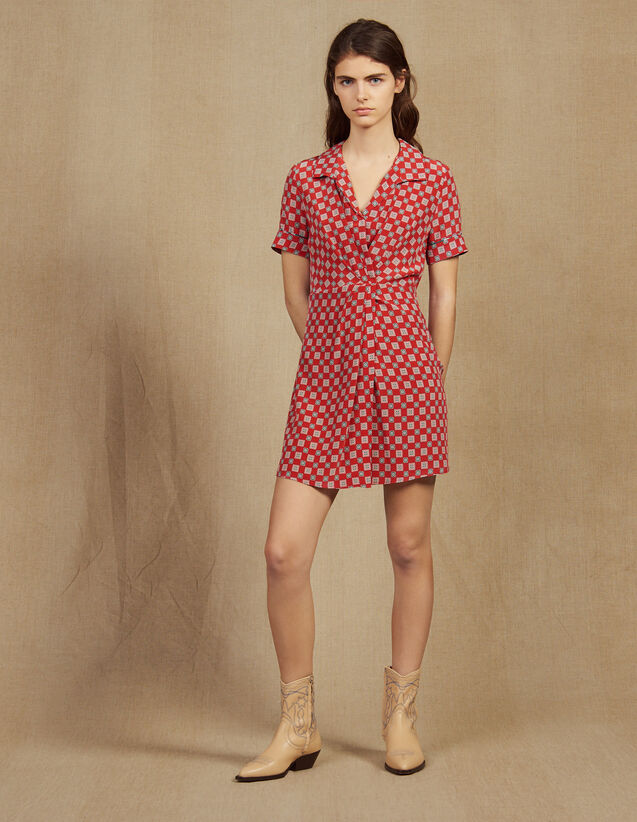 Robe Courte Imprimée En Soie : Robes couleur Rouge
