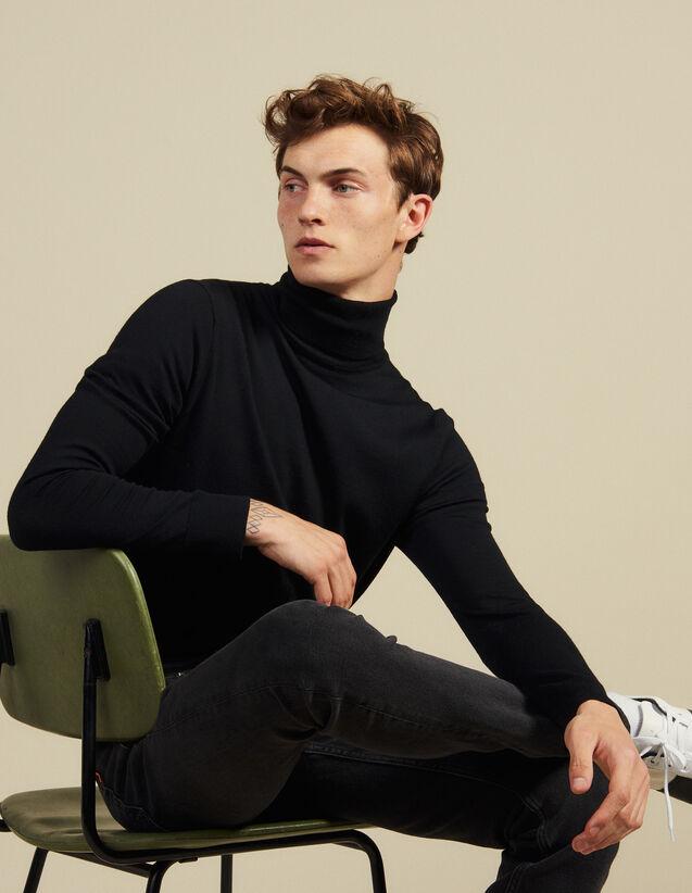 Pull à col roulé en laine : Pulls & Cardigans couleur Noir