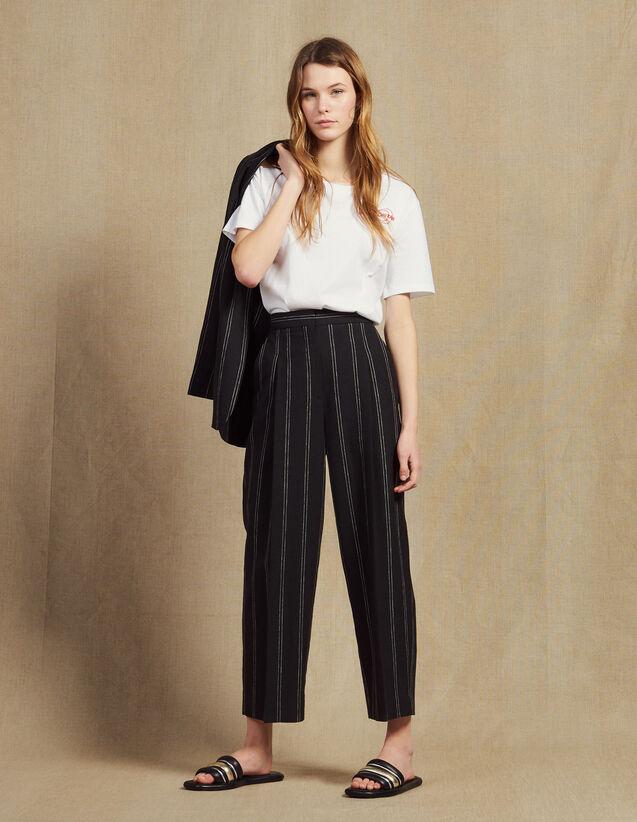 Pantalon À Pinces Rayé Assorti : Pantalons couleur Noir