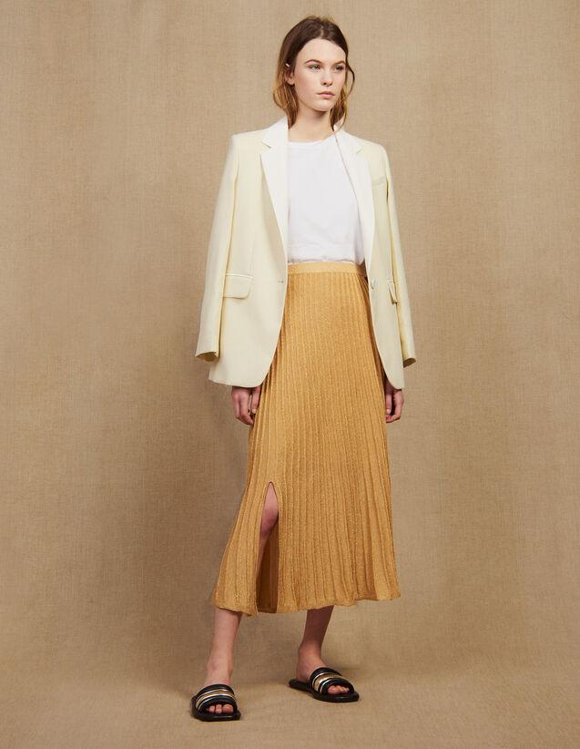 Jupe Longue Plissée En Maille : Jupes & Shorts couleur Or