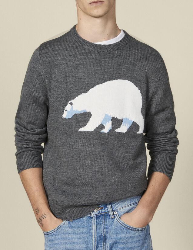 Pull Avec Ours En  Jacquard : Pulls & Cardigans couleur Gris chiné moyen