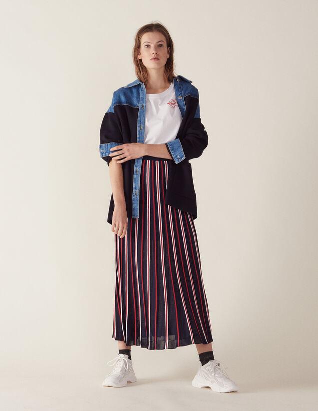 Jupe Longue Plissée En Maille : Jupes & Shorts couleur Marine