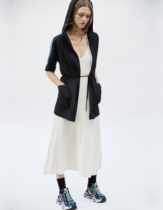 Manteau Coupe-Vent Avec Galons À Message : Manteaux couleur Noir