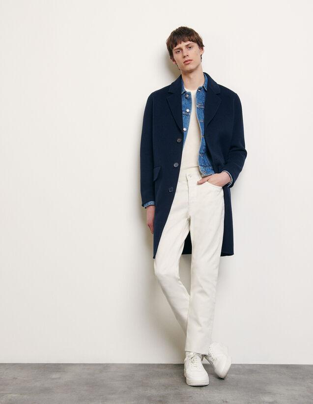 Manteau en laine double face : Collection Été couleur Marine