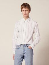 Chemise En Coton À Double Rayures : Chemises couleur Blanc