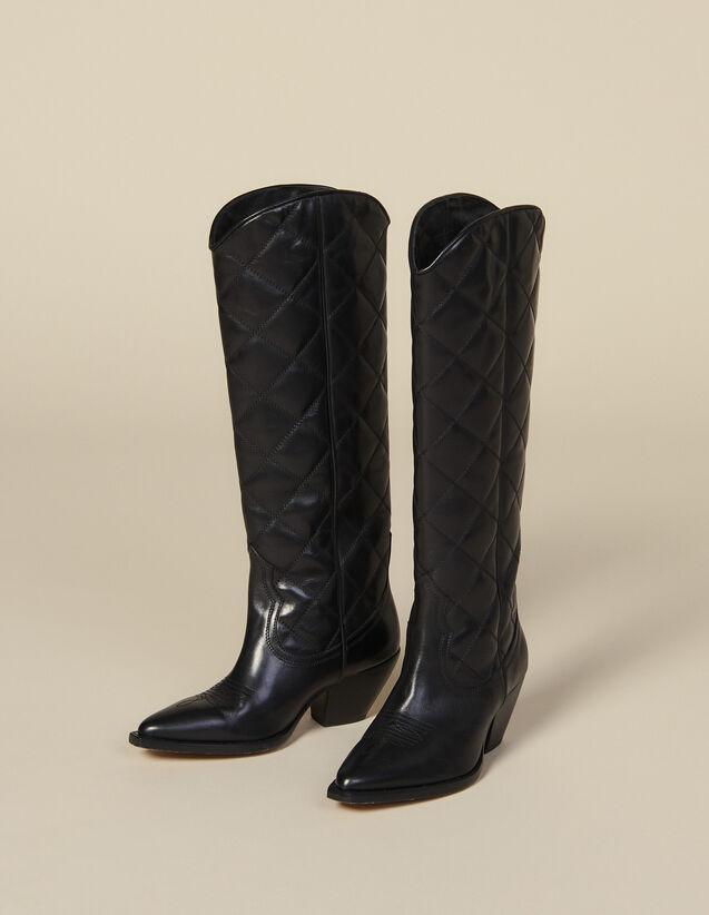 Santiag haute en cuir matelassé : Toutes les Chaussures couleur Noir