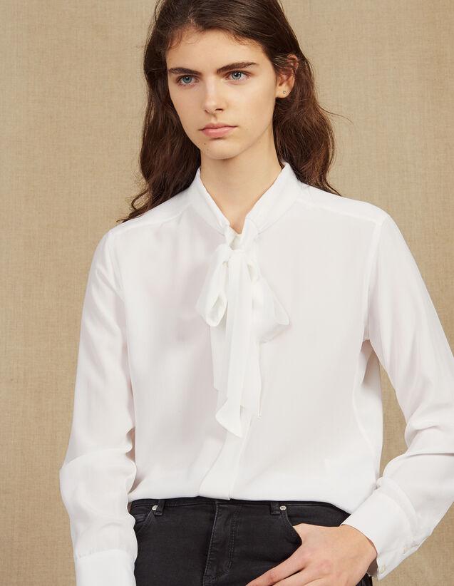 Chemise En Soie Avec Col Collerette : Tops & Chemises couleur Blanc