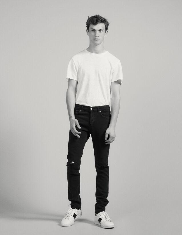 Jean Noir Destroy - Coupe Skinny : Jeans couleur Noir