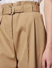 Pantalon Taille Haute Ceinturé : Sélection Last Chance couleur Beige