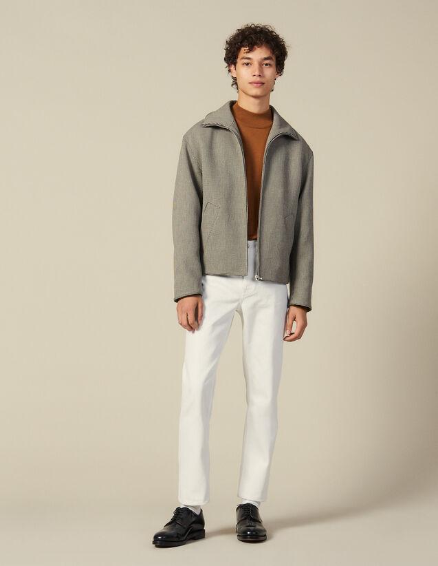 Zipper Over Size Micro Pied De Poule : Blousons & Vestes couleur Marron