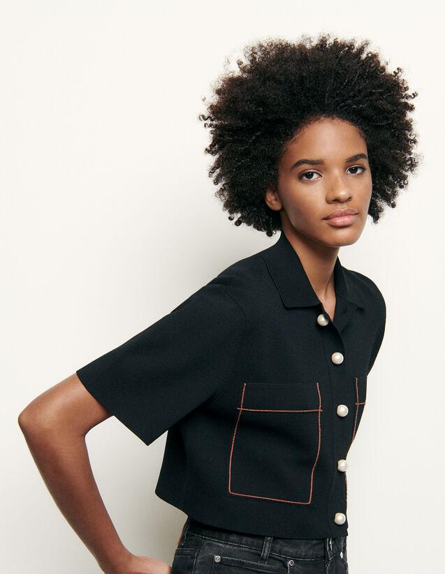 Cardigan court façon chemisette : Pulls & Cardigans couleur Noir