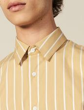 Chemise À Rayures En Coton : Toute la collection Hiver couleur Beige/blanc